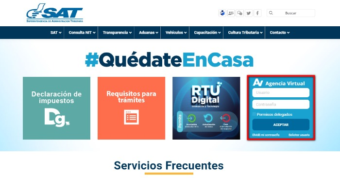 Ingreso Agencia Virtual Sat